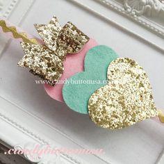 Heart Headband, Glitter Heart Hairbow, Valentines Headband, Princess Hairbows, Glitter Bows, Felt Heart Headband, Glitter Baby Headband