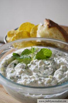 Tzatziki Sauce -- yogurt dipping sauce with cucumbers, garlic, lemon, and mint  www.fullthymestudent.com/tzatziki-sauce