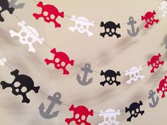 Pirate Birthday Decorations / 10ft Pirate Garland / Skulls and Anchors Garland / Pirate Birthday Decorations / Pirate Party by anyoccasionbanners on Etsy https://www.etsy.com/listing/165994290/pirate-birthday-decorations-10ft-pirate