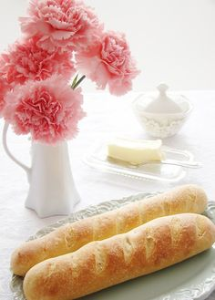 Fluffy delicious French bread. Add any herbs and cheese and butter to the top and inside yum!
