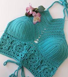 Crochet Summer Tops, Crochet Halter Tops, Crochet Bikini Top, Crochet Bra, Cute Crochet, Crochet Clothes, Diy Crafts Crochet, Crochet Patterns, Toque