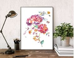 watercolor flower print/HUGE Flower Herbs Wall Art Print/Botanical Herb Prints/watercolor Illustrations/Watercolor flower Print/plant print by AllThatArtVille on Etsy