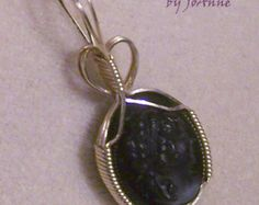 Blackstone Cameo Pendant- Handmade Wire Wrapped in Gold by JewelryArtistry– P397