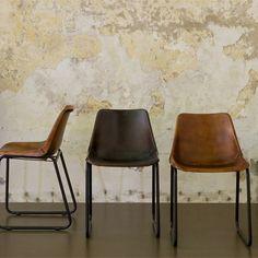 Sturdy retro chair | Brown leather | Sissy-Boy Homeland