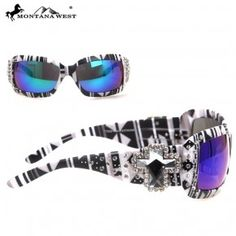 4158dd700c8 SGS-30B Montana West Spiritual Concho With Aztec Print Sunglasses Aztec