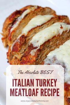 Italian Meatloaf: The Best Turkey Meatloaf Recipe! - - Italian Meatloaf: The Best Turkey Meatloaf Recipe! Ground Turkey Meatloaf, Turkey Loaf, Ground Turkey Recipes, Ground Beef, Cheese Turkey, Turkey Meals, Turkey Dishes, Cooking Turkey, Healthy Italian Recipes