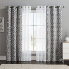 Vcny 4-pack Barcelona Double-Layer Curtain Set, Gray ($32) ❤️ liked on Polyvore featuring home, home decor, window treatments, curtains, grey, jacquard curtains, grommet window panels, window curtains y gray window curtains