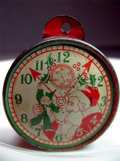 vintage Tin Litho CANDY CONTAINER Santa Pocket Watch Christmas Tree Ornament