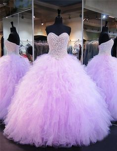 c818ba051d5 Ball Gown Strapless Lilac Tulle Ruffle Pearl Beaded Quinceanera Prom Dress  Lavender Prom Dresses