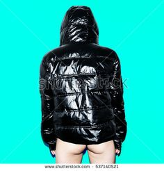 Swag Sexy Style Girl Down jacket Women's fashion Outfit Stylish model in black jacket. Autumn Winter trend