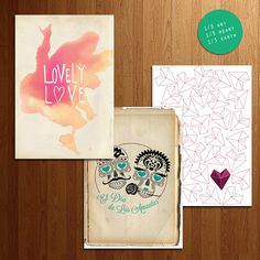 "Vibrant Love KIT  by Anna Giuntini  The Kit Vibrant Love contains 3 greeting cards with envelopes (white or colored): ""Two Hearts,"" ""El dia de los amantes"", ""Lovely Love""."