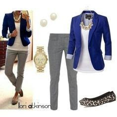 I like the color of blazer with the grey pants.  The print flats are cute too.