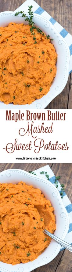 Maple Brown Butter Mashed Sweet Potatoes ~ http://www.fromvalerieskitchen.com
