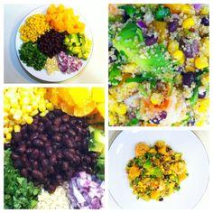 Superfood Salad: organic quinoa, avocado, black beans, sweet corn, cilantro, orange, red onion and shrimp, drizzled with a homemade lemon-garlic-olive oil vinaigrette...SO GOOD.