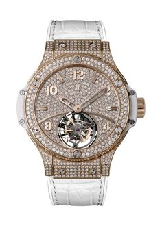 Big Bang Gold White Tourbillon Full Pavé 41mm Complicated watch from Hublot
