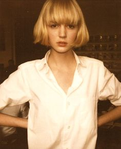 I actually kind of love this pageboy-ish cut.  Sign me up as a hipster right now...Shirt's lovely, too.