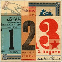 JuliaTrigg, Signals series - typographic collage using ha radio cards from the 20s to the 50s
