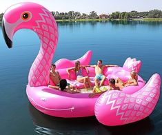 Giant Flamingo Pool Float - Party Bird Island | COOLSHiTiBUY.COM