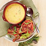 Cheddar Cheese Soup:  I love this recipe as a BASE for CHEESY POTATO soup (just add potatoes and crumbled bacon) and CHEESY BROCCOLI soup (just add broccoli and diced chicken). I omitted the bell pepper. Mmmmmm.