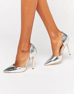 Public Desire Keely Clear Detail Silver Court Shoes