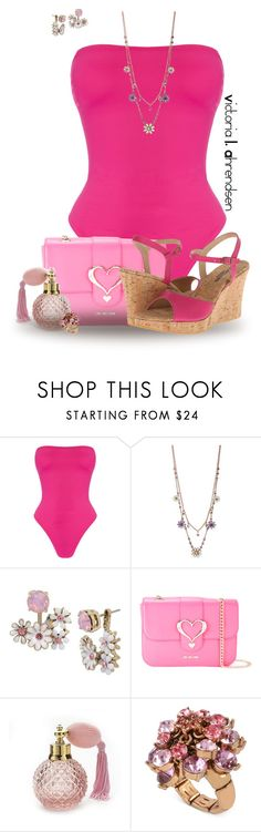 """""""Outfit Set #138! :-)"""" by vahrendsen1988 ❤ liked on Polyvore featuring Norma Kamali, Betsey Johnson, Love Moschino, Cordani, Pink and swimsuit"""