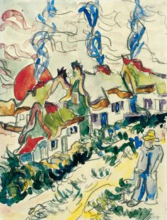 Ernst Ludwig Kirchner (Germany 1880 - 1938)  Landscape with Houses and Man - Landschaft mit Häusern und Mann  Franz Marc Museum, Kochel am See, Germany