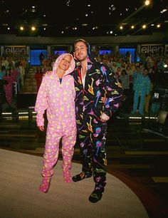 Hey girl, let's wear footy pajamas and snuggle. Ellen & Ryan Gosling in Ellen Shop onesies!