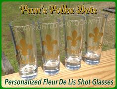 Personalized FLEUR DE LIS Shot Glasses with Name by Pam's Polka Dots, $5.00