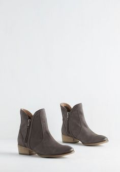 Seychelles Lucky Penny Bootie in Slate. Luck will always be on your side when you add these grey-brown boots from Seychelles to your ensemble. #grey #modcloth