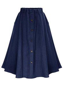 Navy Elastic Waist Denim Flare Skirt With Buttons