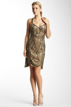 Spaghetti Strap Short Gold Scalloped Hem Beaded Sequinned Dress by Sue Wong on HauteLook Kind of 1920's/Great Gatsby feel