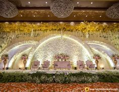 Wedding Reception Entertainment Ideas Pearl Flower For 2019 Reception Stage Decor, Cheap Wedding Decorations, Wedding Reception Backdrop, Wedding Centerpieces, Wedding Receptions, Wedding Entrance, Entrance Decor, Backdrop Decorations, Reception Ideas