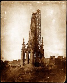 Construction continues on the Scott Monument, 1844. Photograph by David Octavius Hill and Robert Adamson. (University of Glasgow Library, Special Collections)