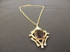 VTG Goldtone Sarah Coventry Link Necklace Large Purple Faceted Stone Pendant #SarahCoventry