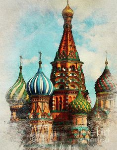 Saint Basil's Cathedral, Moscow, Russia by Esoterica Art Agency Moscow Cathedral, Saint Basil's Cathedral, Cathedral Tattoo, Russia Landscape, St Basils Cathedral, Travel Sketchbook, St Basil's, Islamic Art Pattern, Drawings Of Friends
