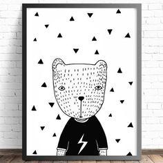 Quadro Minimalista Preto e Branco Infantil Urso