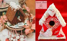 Birdhouse cakes for Christmas in gingerbread by Sweet Cakes by Rebecca (left) & Sweet Janis Sugar Art (right) as featured on Cake Geek Magazine Online.
