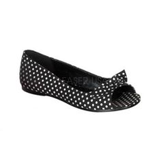 $29 Black Polka Dots Flats! Pin Up Shoes!