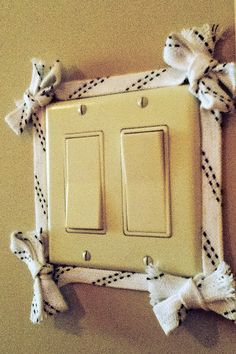 nice way to spruce up a light switch. - check out www.hoffzaz.com for more skate lace products                                                                                                                                                     More