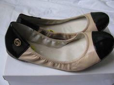 Michael Kors Ballet Flats MK Logo Black/Tan Leather Womens Shoes SZ 9M New #MichaelKors #BalletFlats #Casual