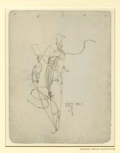 "Violet - drawing on grey paper. Charles Rennie Mackintosh    H: 257 millimetres W: 197 millimetres  ""1893. P."" and ""June 1/8/96"" and inscribed: ""D."" and ""G.""Sold as 'Violet Western Towers'. This sketchbook page is one of the artist's earliest"