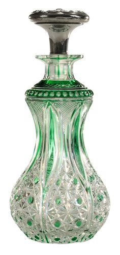Perfume Bottle; Baccarat Glass?, Russian Pattern, Emerald Cut to Crystal, Wallace Silver Stopper with Venus & Cherubs, 8 inch. Year: 1901 - 1925