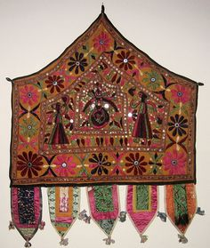 Alter Cloth (Toran), Saurashtra, Gujarat, India, 20th Century, cotton, metal and mirror pieces. plain weave with embroidery and mirror work, Honolulu Academy of Arts - Kathiawar - Wikipedia, the free encyclopedia