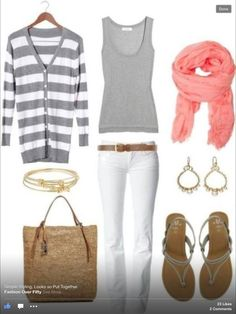 I would never keep white pants clean, but like the tops and scarf.