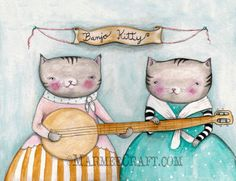 "Cat banjo folk art print, ""Banjo Kitty"". $17.00, via Etsy."