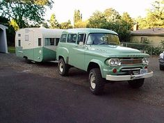 Old Dodge with matching camper.this is my thought w/ my camper after paint job. Just no dodge. Vintage Rv, Trailers Vintage, Vintage Caravans, Vintage Trucks, Vintage Airstream, Vintage Vans, Vintage Green, Old Campers, Retro Campers