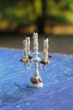 Dollhouse Miniature Seashell Nautical Beach Candelabra 1/12 scale