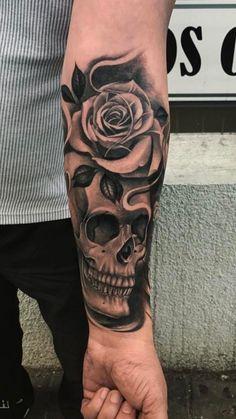 tattoo designs men arm / tattoo designs + tattoo designs men + tattoo designs for women + tattoo designs unique + tattoo designs men forearm + tattoo designs men sleeve + tattoo designs men arm + tattoo designs drawings Skull Rose Tattoos, Skull Girl Tattoo, Skull Sleeve Tattoos, Rose Tattoos For Men, Forearm Sleeve Tattoos, Forearm Tattoo Design, Skull Tattoo Design, Best Sleeve Tattoos, Tattoo Sleeve Designs
