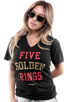 Five Golden Rings (Women's Black V-Neck) Cute Fashion, Urban Fashion, 49ers Outfit, Five Golden Rings, 49ers Shirts, Cold Wear, T Shirts For Women, Clothes For Women, V Neck Tee
