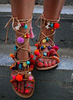 Greek Sandals, Tie Up Gladiator Sandals, Pom Pom Sandals, Bohemian, Swarovski…